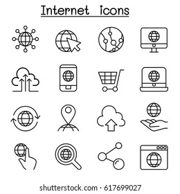 Internet icon set in thin line style
