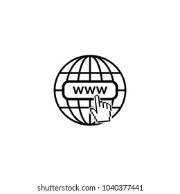 Internet icon. World net favicon with old pixelated hand mouse cursor