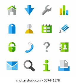 Internet icons, colored. Internet icons, colored, flat, vector pictures isolated on white background.