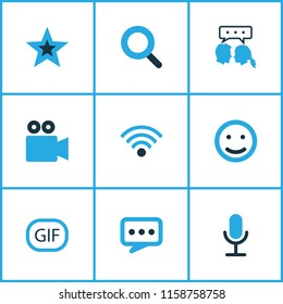 Internet icons colored set with video chat, emoji, gif sticker and other wifi elements. Isolated vector illustration internet icons.