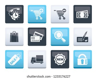 Internet icons for online shop  over color background- vector icon set