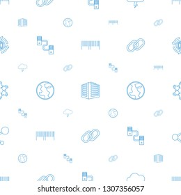 internet icons pattern seamless white background. Included editable line barcode, documents box, thunder, cable, planet, chain, hands icons. internet icons for web and mobile.