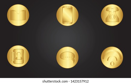 Internet Icons. Set icon Social media .icon set color gold with black background