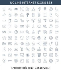 internet icons. Trendy 100 internet icons. Contain icons such as chat, money, user, phone with heart, business center building, resume, stairs. internet icon for web and mobile.
