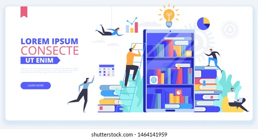 Internet library landing page vector template