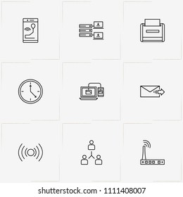 Internet line icon set with printer, wireless connection  and laptop paired connection