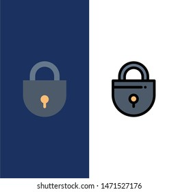 Internet, Lock, Locked, Security  Icons. Flat and Line Filled Icon Set Vector Blue Background