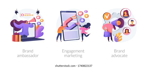 Internet marketing abstract concept vector illustration set. Brand advocate and ambassador, engagement marketing, brand representative, trademark, smm marketing strategy, awareness abstract metaphor.