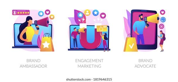 Internet marketing abstract concept vector illustration set. Brand advocate and ambassador, engagement marketing, brand representative, trademark, smm marketing strategy, awareness abstract metaphor.