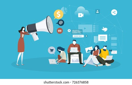 Internet marketing. Flat design people and technology concept. Vector illustration for web banner, business presentation, advertising material.