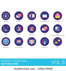 Internet marketing icons including hyperlocal, anchor text, alt, keyword stemming, hard bounce, analytics, traffic up, down, CMS, domain name, dynamic website, hit, link authority, ping.