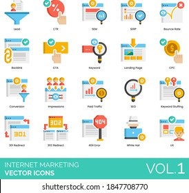 Internet marketing icons including lead, CTR, SEM, SERP, bounce rate, backlink, CTA, landing page, CPC, conversion, impression, paid traffic, SEO, keyword stuffing, redirect, 404 error, white hat, UX.