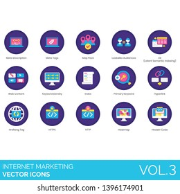 Internet marketing icons including meta description, tags, map pack, lookalike audiences, LSI, latent semantic indexing, content, keyword density, primary, hyperlink, hreflang, HTTPS, HTTP, heatmap.