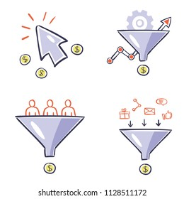 Internet marketing instruments - hand drawn design illustrations. Vector set of conversion, optimization and lead generation infographics concepts.