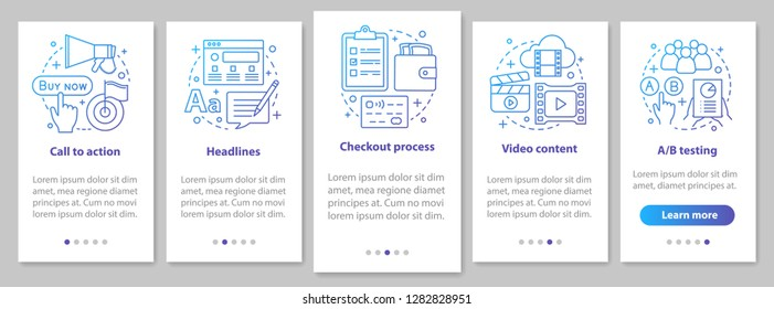 Internet marketing onboarding mobile app page screen with linear concepts. Advertising campaign walkthrough steps graphic. Digital promotion. SMM. UX, UI, GUI vector template with illustrations