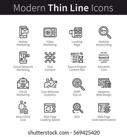 Internet marketing. SEO or Search Engine Optimization. Landing page web site keywords semantic, article, code & loading speed. Thin black line art icons. Linear style illustrations isolated on white.