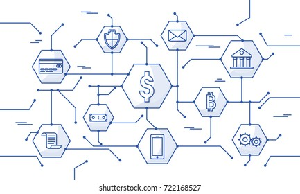 Internet money, secure payment transaction, payment mechanism. Fintech (financial technology) background. Blue flat style illustration.