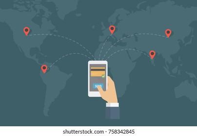 Internet Money Transfer Around The World