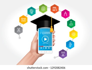 Internet network on your smartphone as a knowledge base. The concept of e-learning.