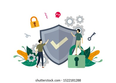 Internet network security, computer security with small people concept vector flat illustration, suitable for background, banner, landing page, advertising illustration