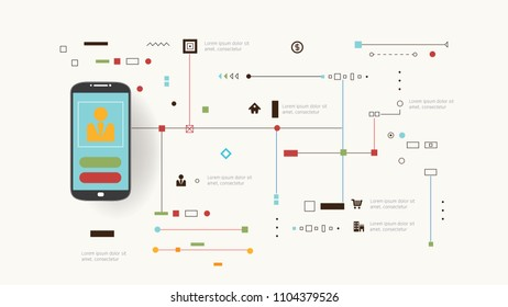 Internet And Networks Design Concept With Icons. Vector illustration.