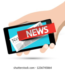 Internet News Design. Phone App with Human Hand. Vector.