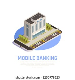 Internet online banking services isometric symbolic composition with financial head office edifice on mobile screen vector illustration