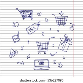 Internet and On-line Shopping Concept Present. On-line shopping concept smart phone and e-commerce icons vector illustration. Copybook background.