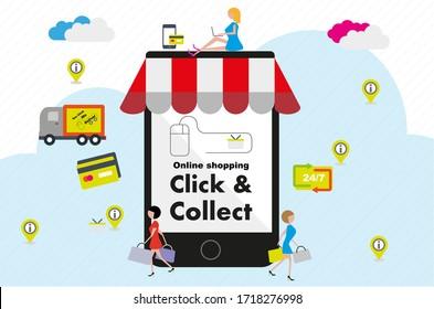 Internet online shopping consept vector