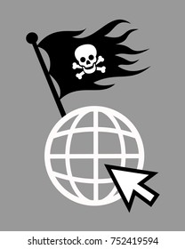 Internet and online world  as place for illegal piracy - downloading, streaming, sharing of data. Black pirate flag with skull and bones is waving on symbol of internet site. Vector illustration