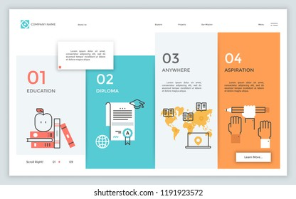 Internet page template with 4 columns, linear symbols, numbers and place for text. Company portfolio and provided services. Infographic design layout. Vector illustration for website menu interface.