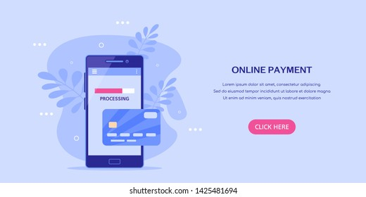 Internet payment with mobile phone concept banner. Smartphone with credit card. Flat style illustration.