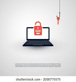 Internet Phishing, Account Hacking Attempt by Malicious Email - Hacker Activity, Data Theft, Hacked, Stolen Login Credentials and Password, Cyber Crime and Network Security Vector Concept Illustration