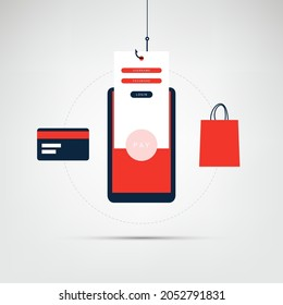 Internet Phishing, Account Hacking Attempt During Online Payment - Hacker Activity, Data Theft, Hacked, Stolen Login Credentials, Password, Credit Card Data - Cyber Crime and Security Vector Concept