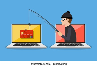 Internet phishing and hacking attack concept. Email spoofing and personal information security background. internet attack on credit card. vector illustration in flat design.