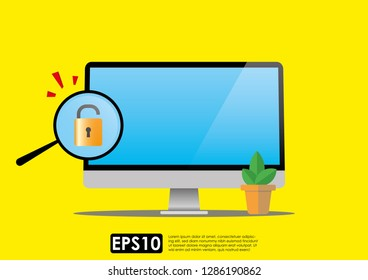 Internet phishing, hacking internet social network concept. Unlocked padlock icon with magnifying glass on computer screen. Cyber data breach or pishing crime. Illustration vector.