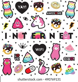 Internet pin sticker patch triangle background