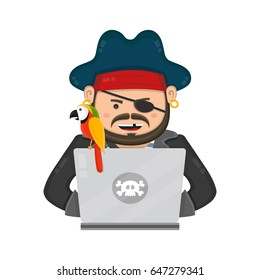 Internet pirate with a laptop computer and parrot. vector flat modern style isolated character illustration. web security and download content concept