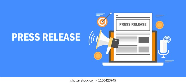 Internet press release, online news , digital media advertising flat vector illustration with icons and texts
