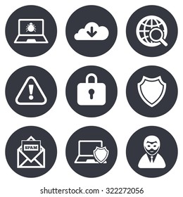 Internet privacy icons. Cyber crime signs. Virus, spam e-mail and anonymous user symbols. Gray flat circle buttons. Vector