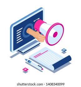 Internet Promotion Isometric Concept. hand with megaphone from laptop screen. Call to action. Social Media Marketing. Vector Illustration in 3d flat style.