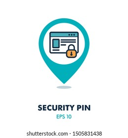 Internet protection symbol, data protection shield logo, information security pin map icon. Security map pointer. Map markers