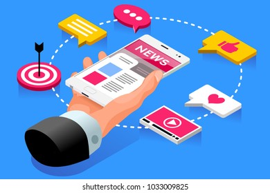 Internet publication webpage of press news article. Web concept. Isometric icons vector design.