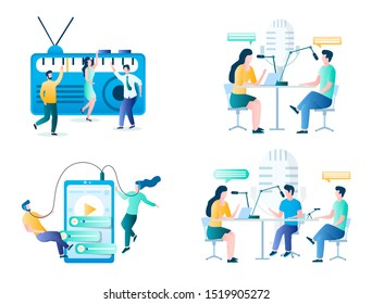 Internet radio, vector illustration set isolated on white background. Online radio, podcast making and listening concept for website page, web banner etc.
