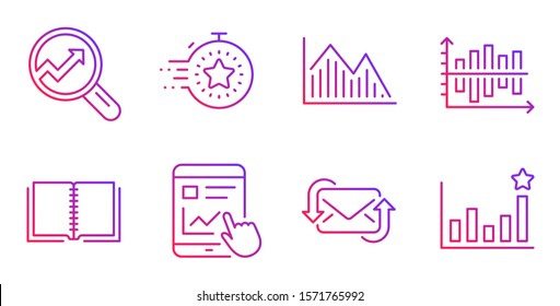 Internet report, Timer and Refresh mail line icons set. Diagram chart, Analytics and Book signs. Investment graph, Efficacy symbols. Web tutorial, Deadline management. Education set. Vector