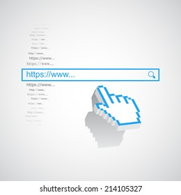 Internet search concept with search box and pixel hand