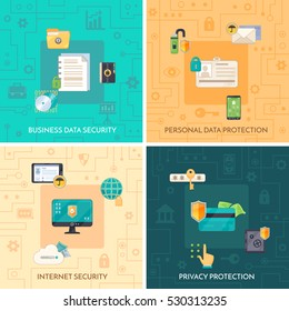 Internet security 4 flat icons square composition with personal private and business data protection symbols isolated vector illustration