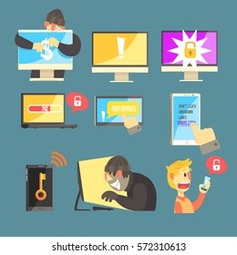 Internet Security And Computer Protection Against Criminal Hackers Stealing Passwords And Money Set Of Info Illustrations
