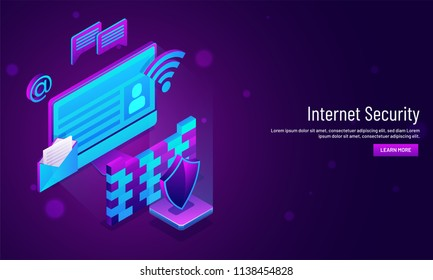 Internet Security concept based, isometric illustration of mail envelope with firewall and security shield. Responsive landing page design for website or mobile app.