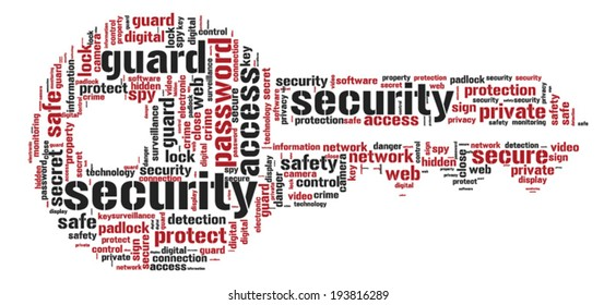 Internet Security Concept - Key shaped word cloud